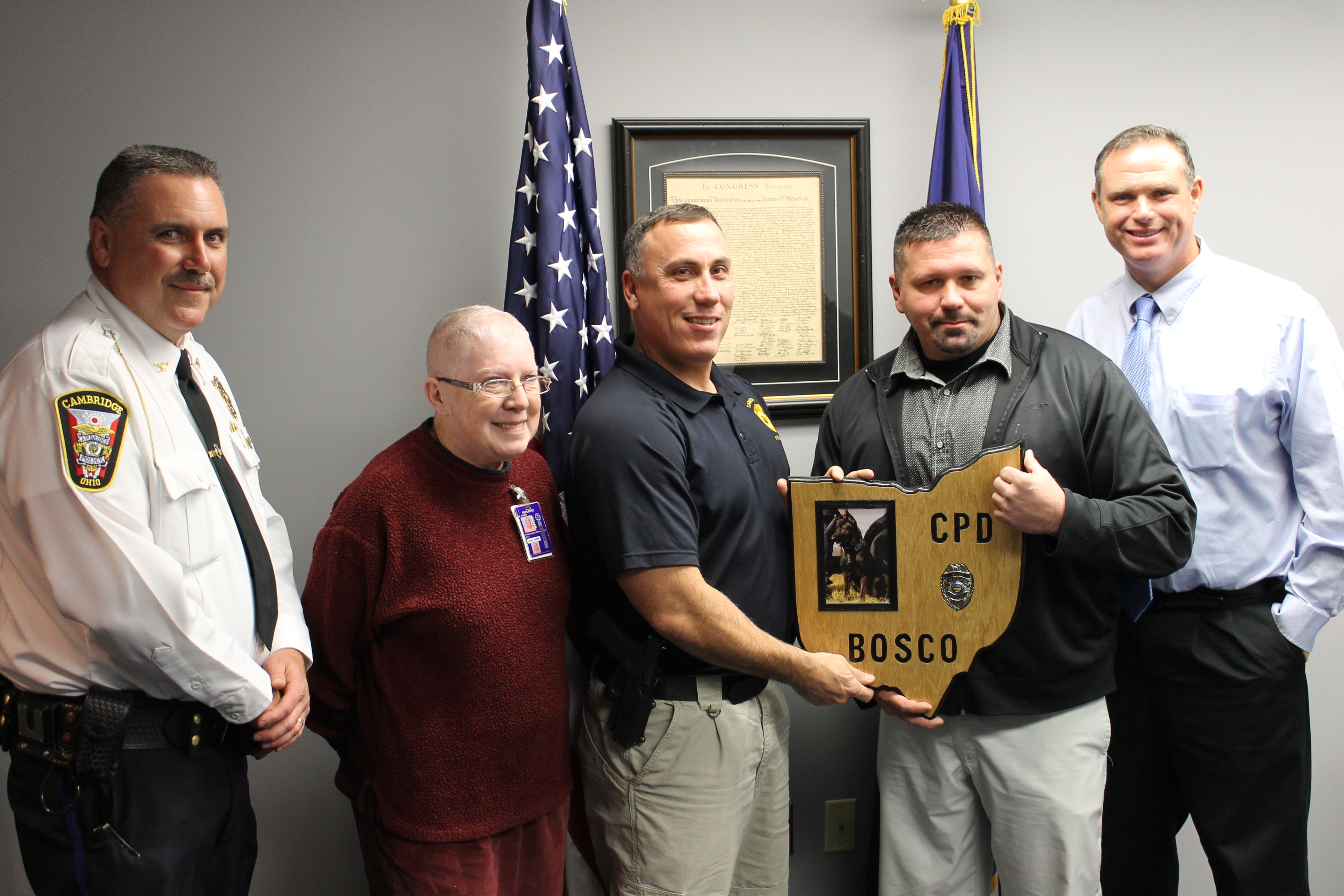 Noble Correctional Institution Presents Plaque for Cambridge Ohio K-9